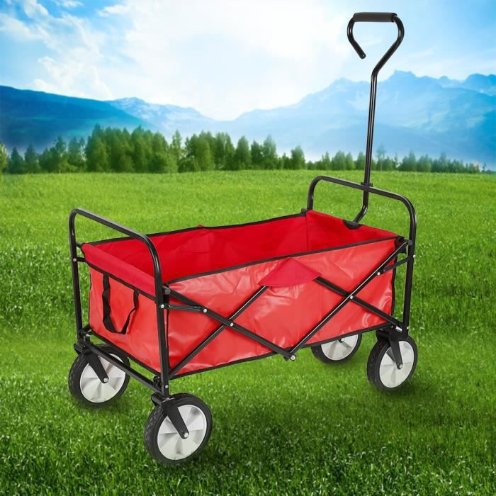 Chariot Pliable avec roulettes Chariot de Transport pour Jardin ext/érieur avec poign/ée antid/érapante et /étag/ères Yard Jardin Transport Trolley Beach Ext/érieur