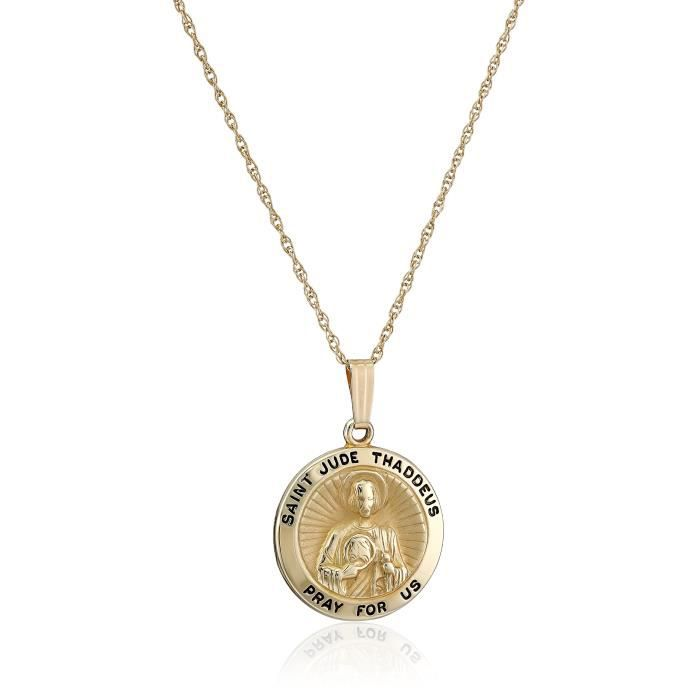 14k Yellow Gold Hollow Round Saint Jude Medal Pendant Necklace, 18 WVBY7