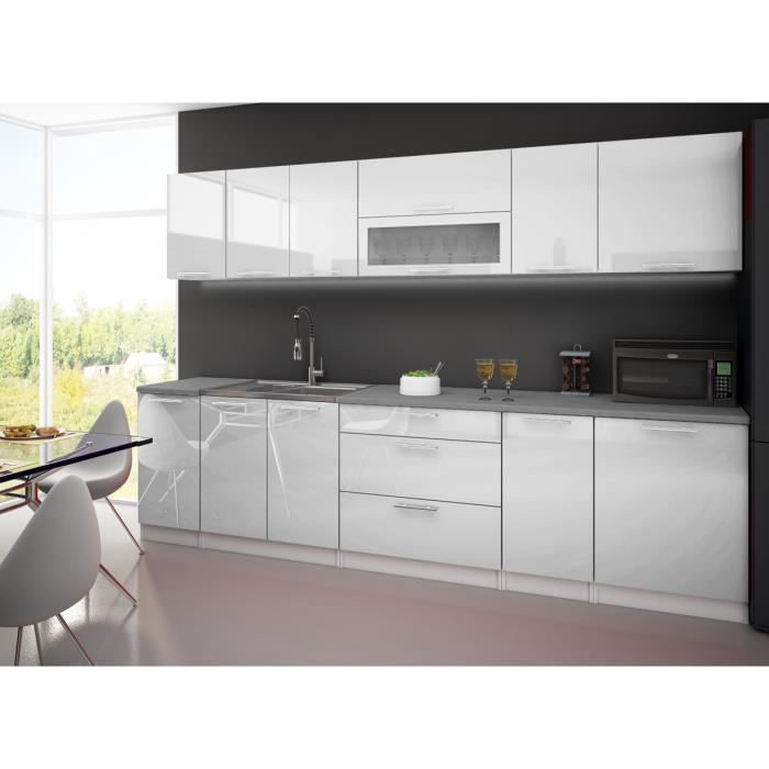 cuisine laquee high gloss blanc 3m avec plan de travail. Black Bedroom Furniture Sets. Home Design Ideas