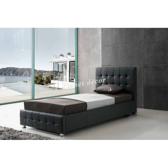 lit 90x200 cm en simili cuir noir avec t te de lit capitonn e achat vente lit complet lit. Black Bedroom Furniture Sets. Home Design Ideas