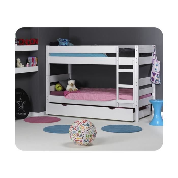 lit superpos enfant 1 2 3 blanc blanc achat vente. Black Bedroom Furniture Sets. Home Design Ideas