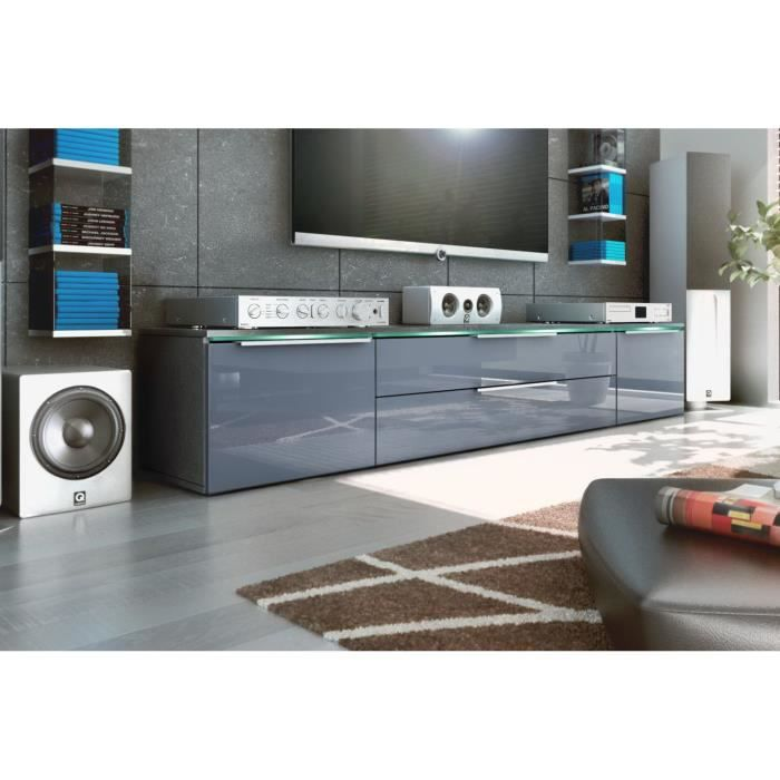 meuble tv anthracite et gris en mdf 37 cm achat vente. Black Bedroom Furniture Sets. Home Design Ideas
