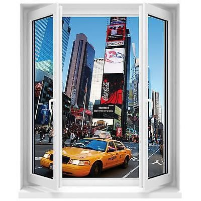 Sticker fen tre new york taxi 80x100cm r f f510 achat for Stickers fenetre new york