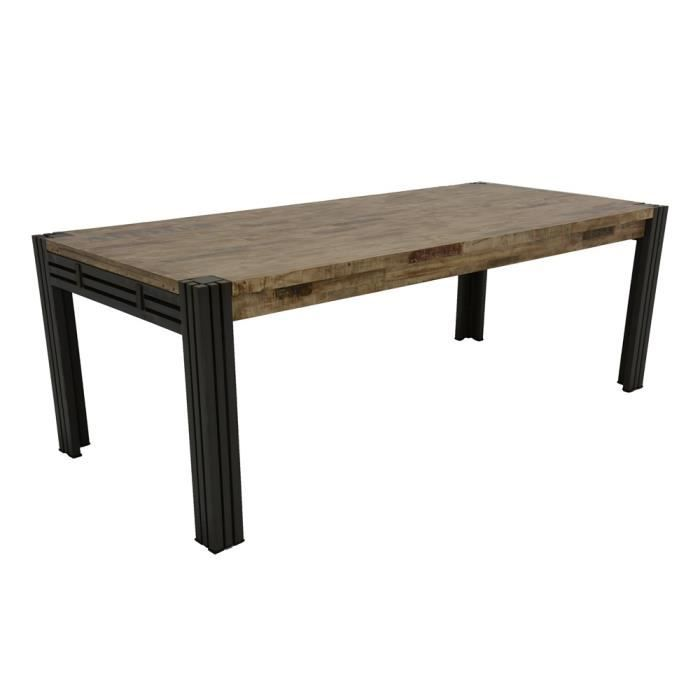 Industriel Table Repas 220cm Extensible Wolof Recycle Blanchi