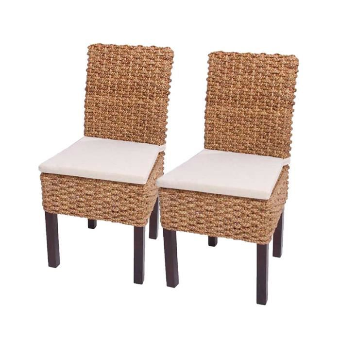 lot de 2 chaises m43 salle manger jacinthe d 39 eau tress e 48x50x91cm avec coussins achat. Black Bedroom Furniture Sets. Home Design Ideas