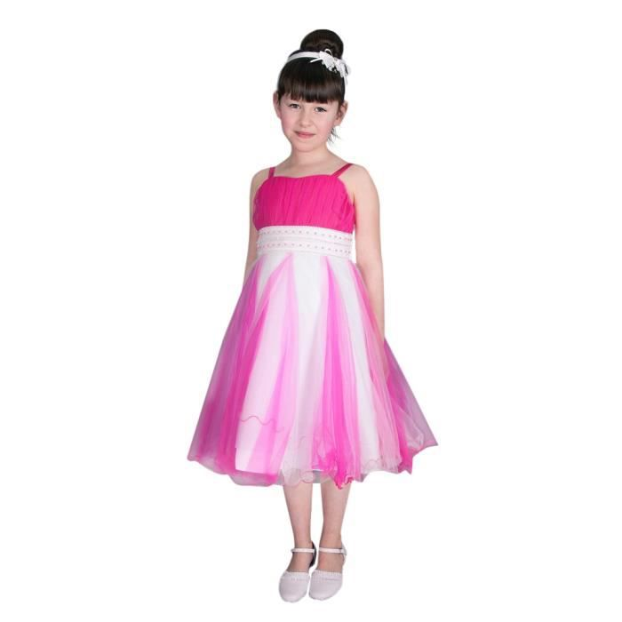 Robe De Ceremonie Fille Calista Rose Fuchsia Rose Fushia Achat