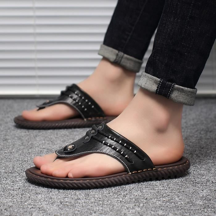 Korean Simple Shoes loafer imperméables pour hommes Tongs jYXGvKD