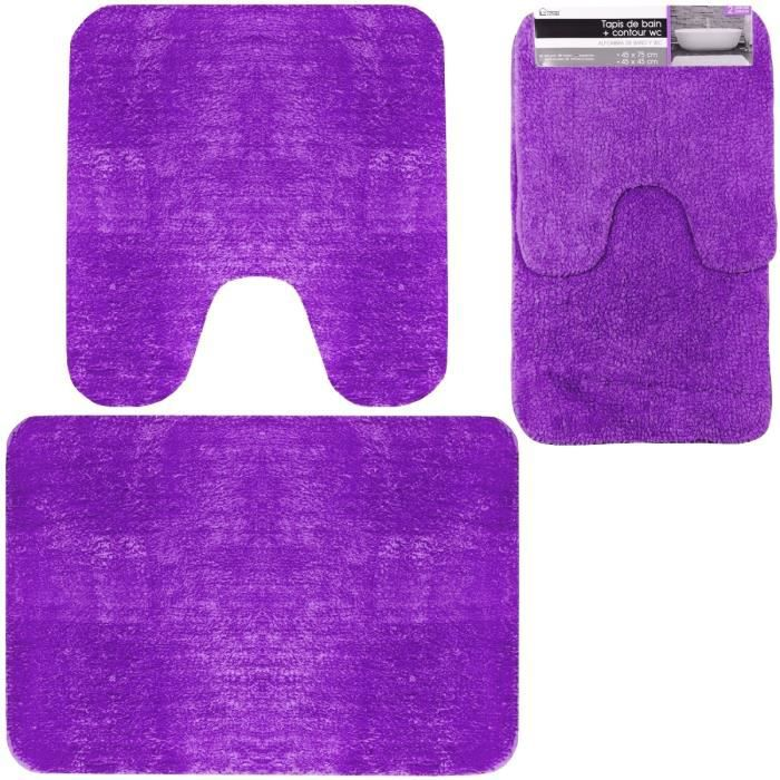 set duo ensemble tapis de salle de bain contour wc mauve violet achat vente tapis de bain. Black Bedroom Furniture Sets. Home Design Ideas