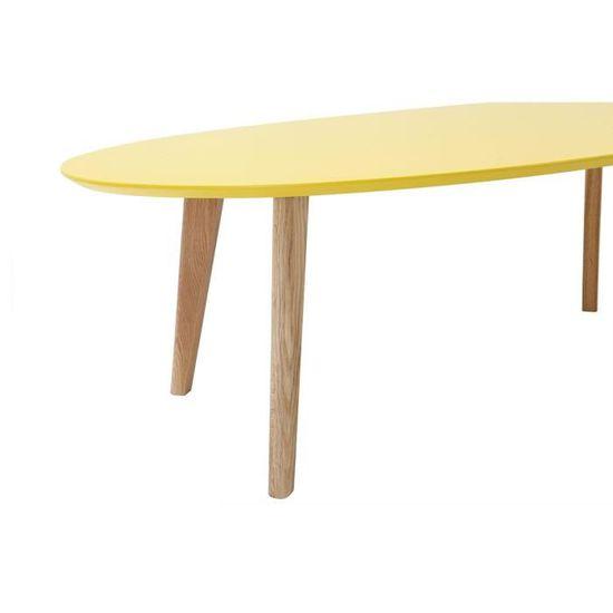 ovale jaune Table design Miliboo 120cm EKKA basse iukXPZ