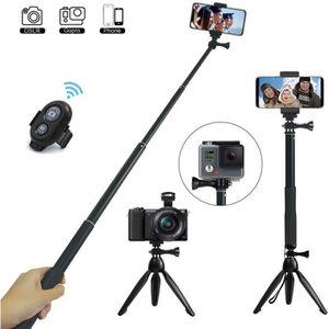PERCHE - CANNE SELFIE Perche Selfie, 3 en 1 Extensible Selfie Stick Trép