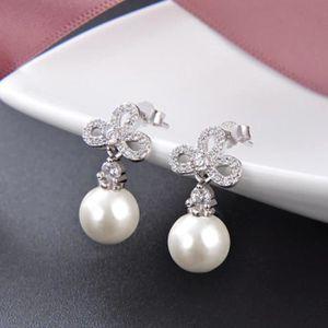 Boucle d'oreille Femmes Boucles d¡¯oreilles des perles en Argent s9