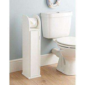 PIÈCE MEUBLE Porte rouleau papier WC sur pied en bois blanc, me