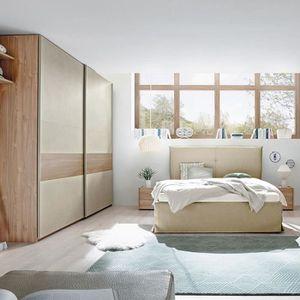 CHAMBRE COMPLÈTE  Chambre à coucher taupe et couleur bois miel ADRIA