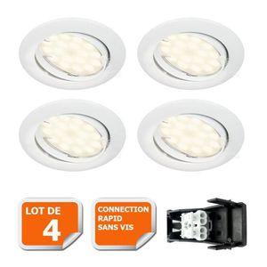 SPOTS - LIGNE DE SPOTS LOT DE 4 SPOT LED ENCASTRABLE COMPLETE ORIENTABLE