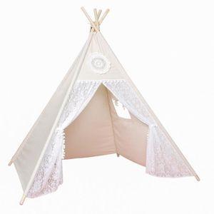 TENTE TUNNEL D'ACTIVITÉ Tent Tipi pour Enfant avec Coton Textile (Dentelle