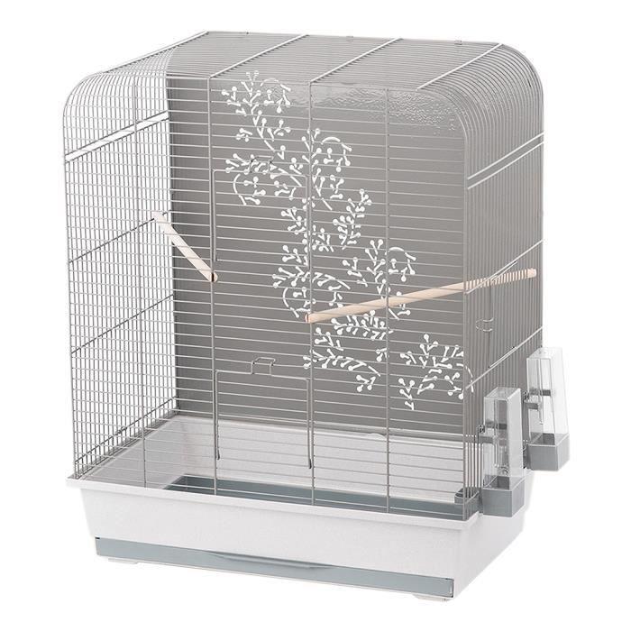 DUVO+ Cage Zen Miki 54 x 34 x 65 cm - 4,27 kg - Gris clair et gris - Pour oiseaux