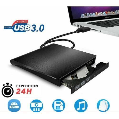 Graveur Lecteur de DVD externe portable USB 3.0 Lecteur de CD/DVD-RW Disqueur/graveur Pour PC portable