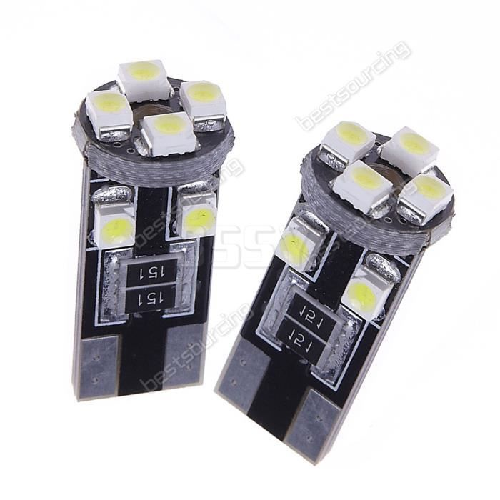 ANGRONG 10x T10 8 SMD LED Voiture Ampoule Luminaire Lampe 194 501 168 W5W Veilleuse ODB CANBUS Anti Erreur Blanc 6000k