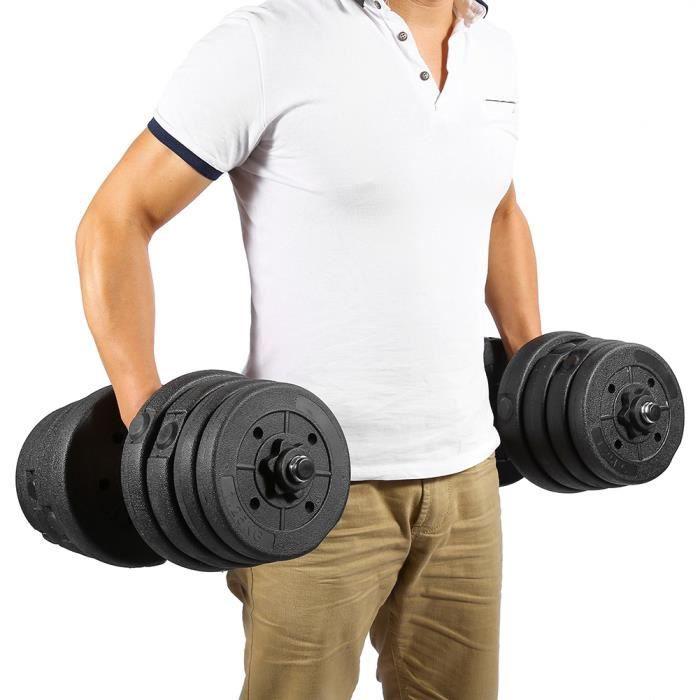 2X haltères mis en forme gym poids biceps triceps poids libres formation 30 kg HB020 Haute Qualité
