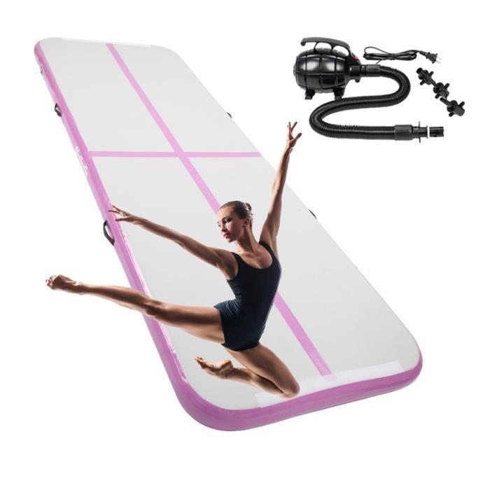 Gymnastique Gonflable avec Pompe Pratique et Durable Piste Gonflable Air Track pour Gymnaste Yoga 300 x 100 x 10 cm Gris et violet