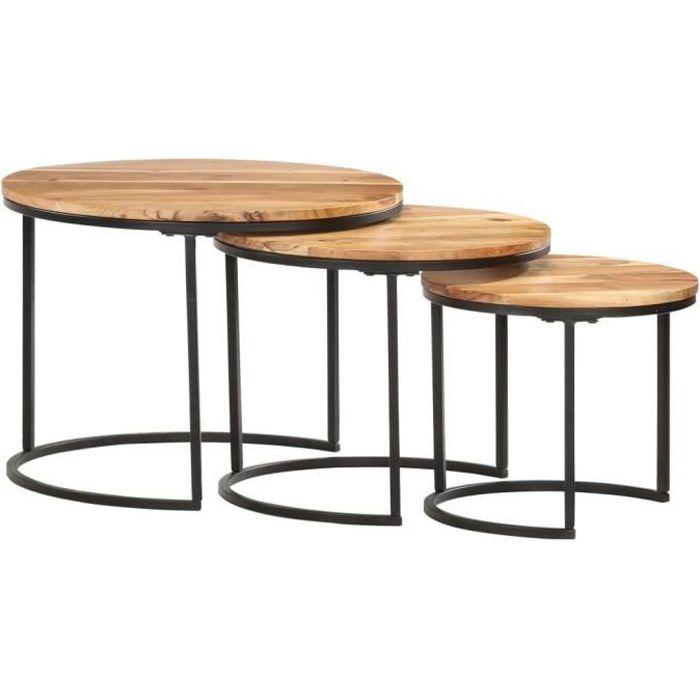 RING Tables gigognes 3 pcs Bois d'acacia massif #2