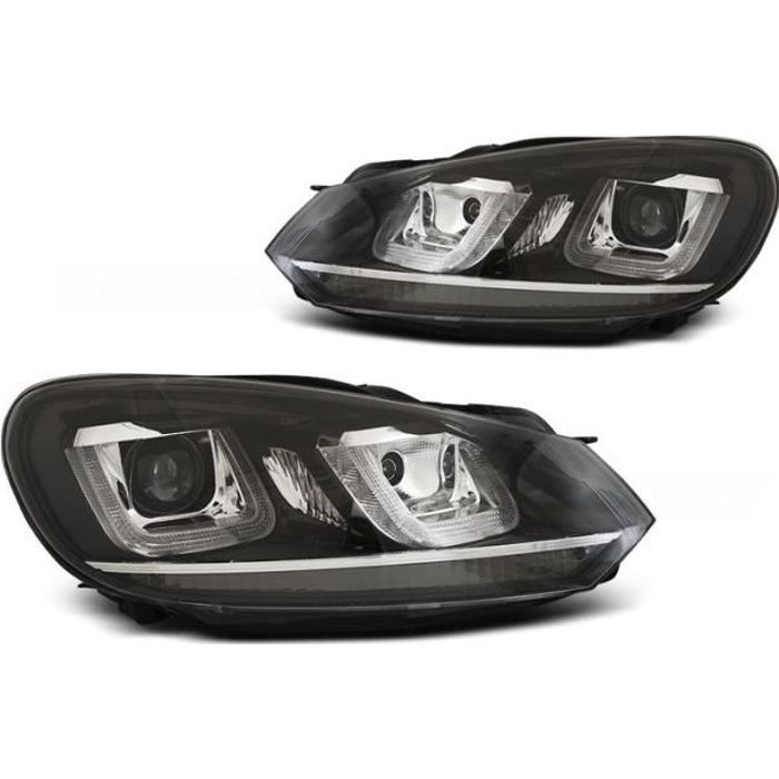 Paire de feux phares VW Golf 6 08-12 led U-type DRL noir liner chrome (WP3)