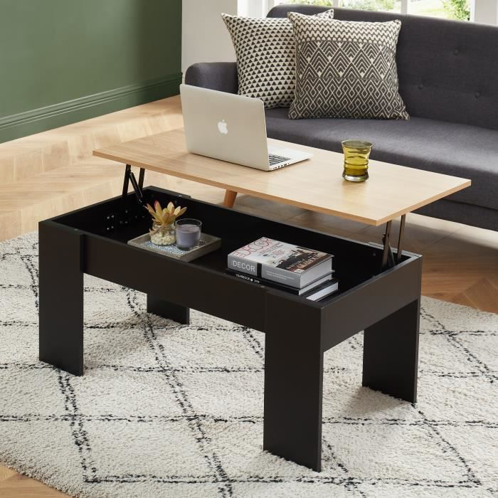 SIMON Table basse avec plateau relevable - décor bois et noir - L100cm