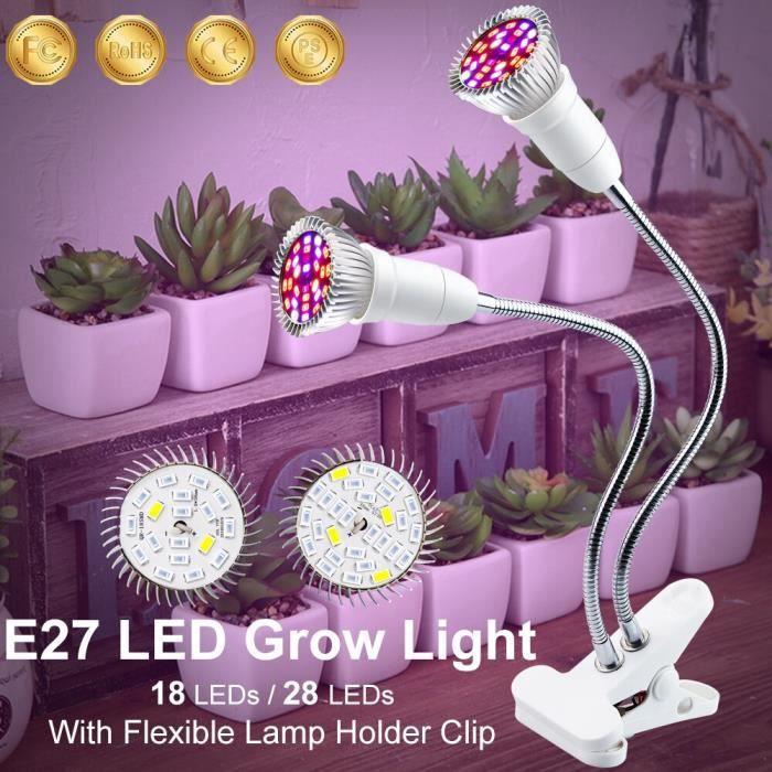 Phyto-lampe Led 18-28W à spectre complet pour la croissance de plantes en serre, éclairage po 1 head Bulb 18leds EU Plug -WL9744