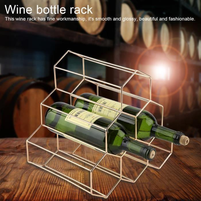 Chantier 6 Bouteilles Étagère à Vin Casier à Vin Casier à Bouteilles vin Porte-bouteille Design Géométrique Simple M en Métal