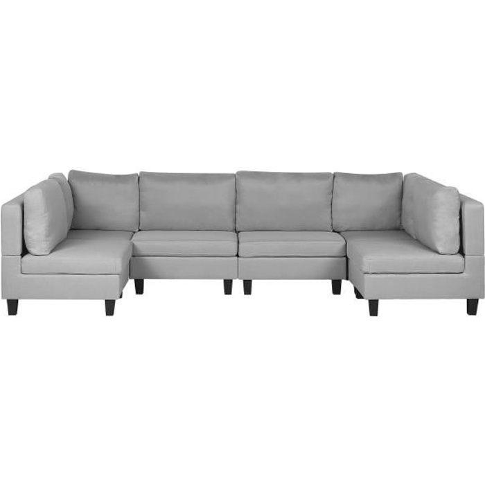 Canapé panoramique modulable 6 places en tissu gris clair FEVIK