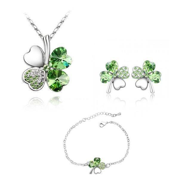 Parure Collier, Bracelet, Boucles d'Oreilles Trèfle Cristal de Swarovski Elements Vert