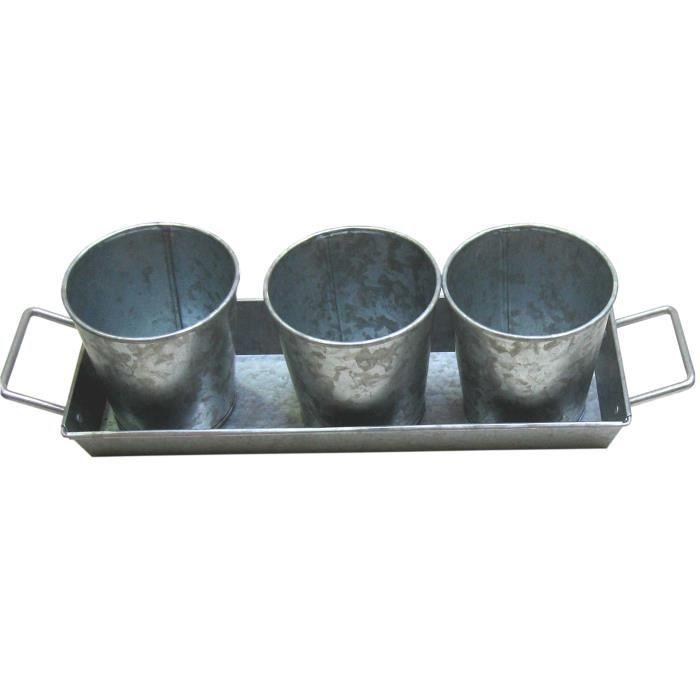 Set de 3 pots et 1 plateau à poignées - Acier galvanisé