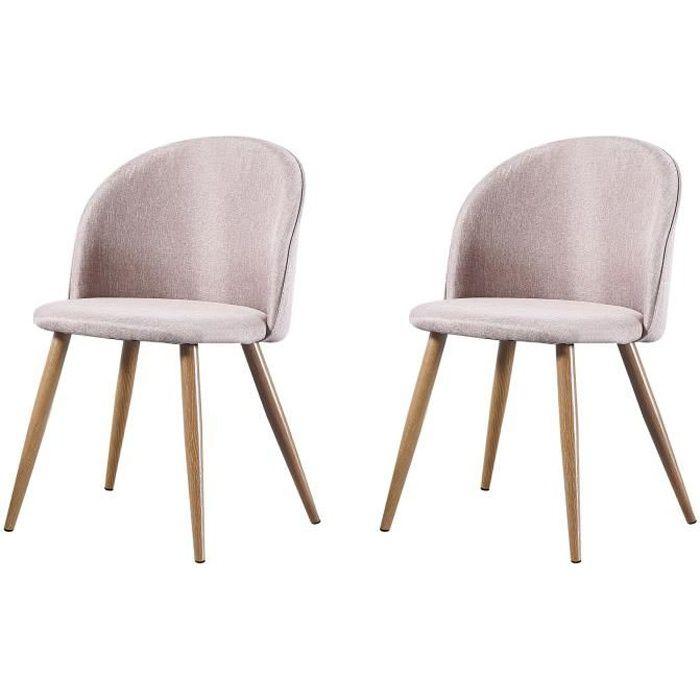MAEVA - Lot de 2 chaises scandinave - Tissu - Taupe - pieds en métal design salle a manger salon - 52 x 48 x 79 cm