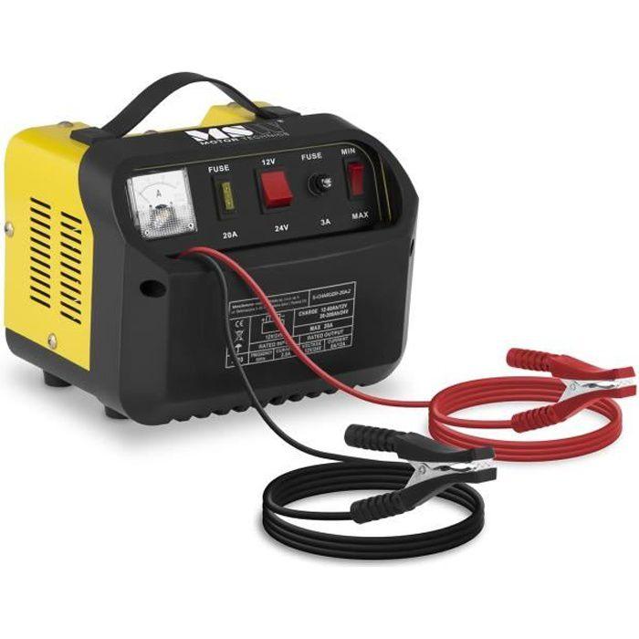 Chargeur de batterie voiture MSW S-CHARGER-20A2 (12/24V ampérage charge 8/12A pour les batteries de 12-200Ah)