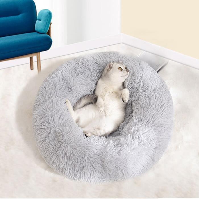 Panier pour chat Lit de chien confortable beignet rond chien lit ultra doux lavable chien et chat coussin 40cm gris