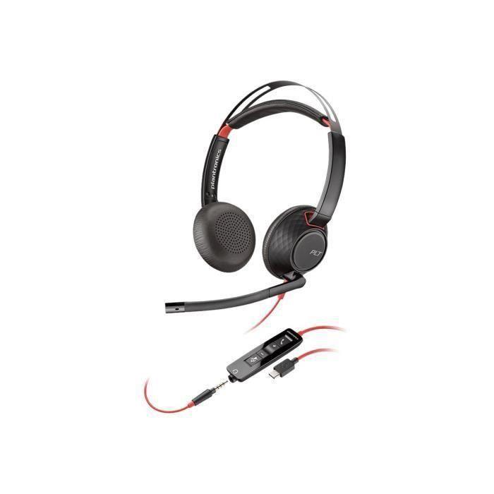 Plantronics Blackwire 5220 5200 Series casque sur-oreille filaire jack 3,5mm, USB-C
