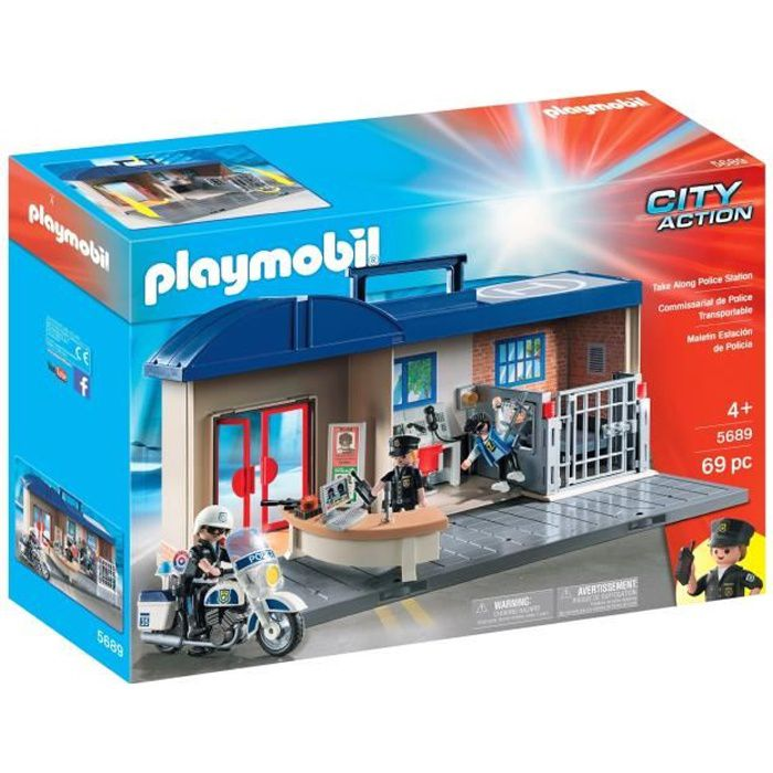 PLAYMOBIL - 5689 - Commissariat de Police Transportable