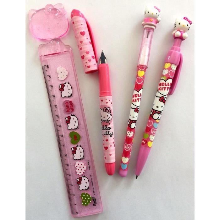 Hello Kitty set scolaire stylo plume stylo bille crayon règle 15 cm idée cadeau
