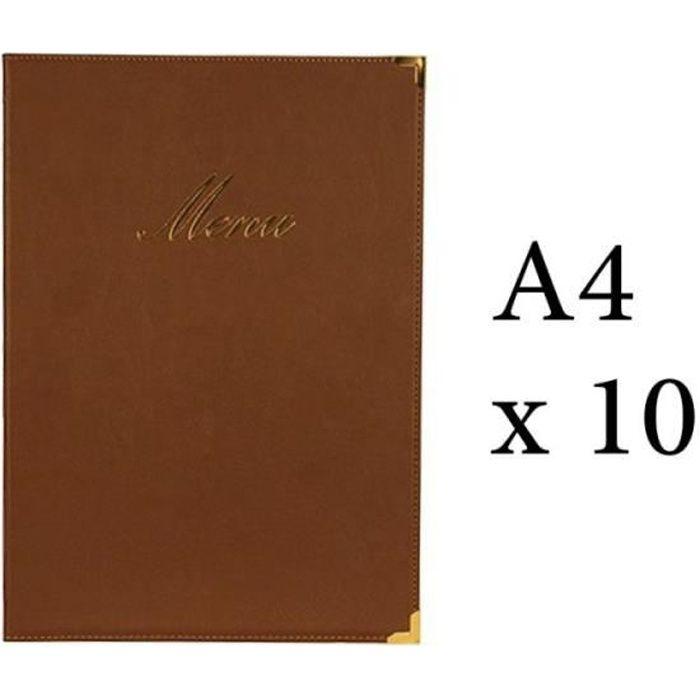 Lot 10 protège-menu Classique format A4 couleur marron - Porte menu hôtel restaurant - Securit 5 Marron