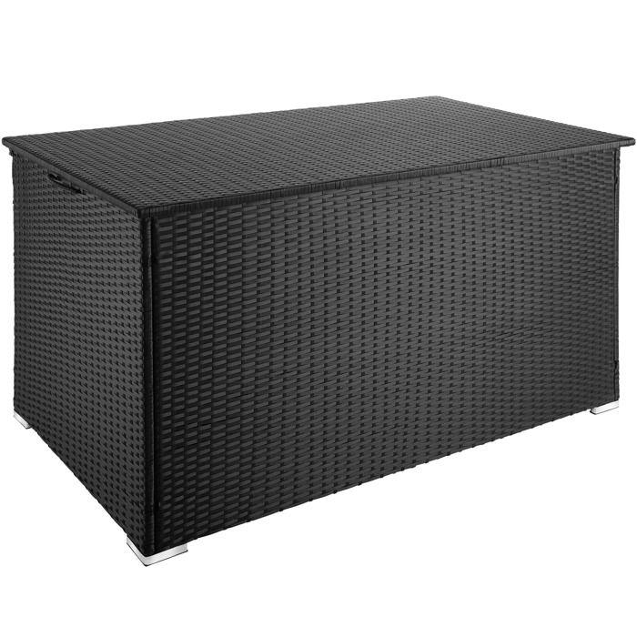TECTAKE Coffre de Jardin de Rangement extérieur 750 L en Résine tressée et Aluminium Noir