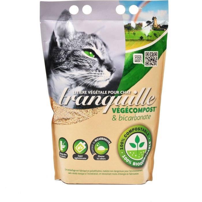 TRANQUILLE Litière végétale végécompost et biocarbonate pour chat - 4 l