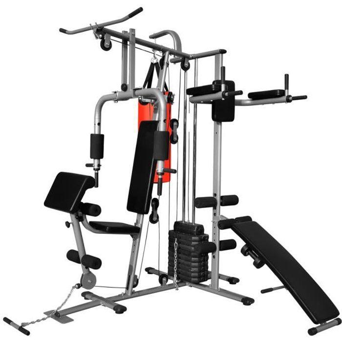 Appareil de musculation multifonctionnel avec 1 sac de boxe 65 kg