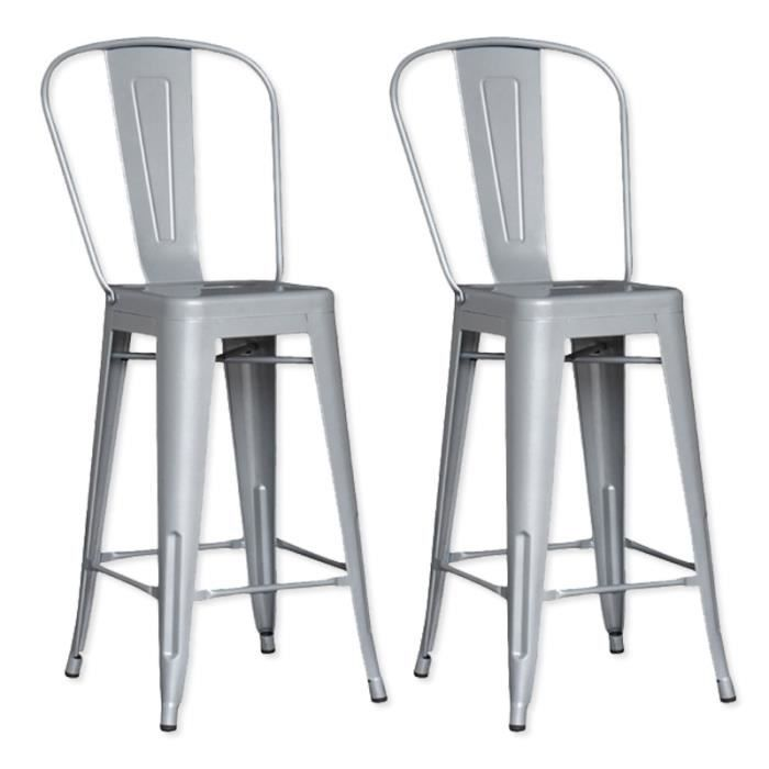 lot de 2 chaises de bar m tal loft laqu gris achat vente tabouret de bar gris cdiscount. Black Bedroom Furniture Sets. Home Design Ideas