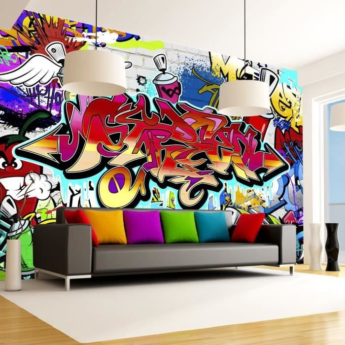 papier peint intiss graffiti 350x245 cm 7 l s achat vente papier peint papier peint. Black Bedroom Furniture Sets. Home Design Ideas
