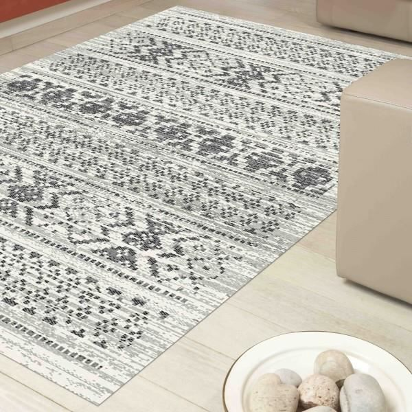 tapis tatoo gris et blanc 160x230cm achat vente tapis. Black Bedroom Furniture Sets. Home Design Ideas