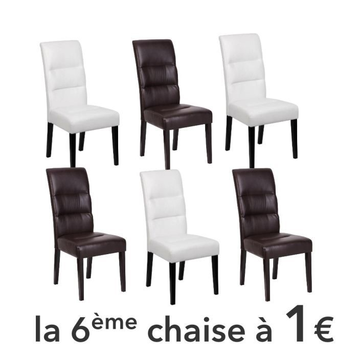 daphn lot 6 chaises 3 blanches 3 marron achat vente. Black Bedroom Furniture Sets. Home Design Ideas