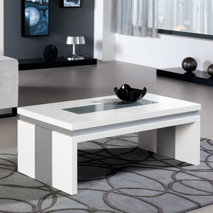 Table basse relevable concetto en laque blanc achat - Table basse transformable en table haute ...