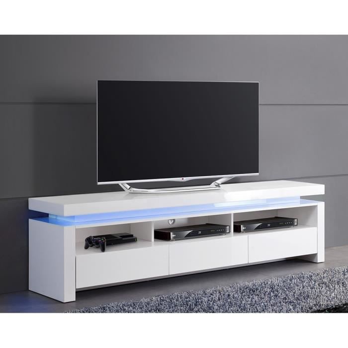 meuble tv blanc laqu lumineux 3 tiroirs achat vente. Black Bedroom Furniture Sets. Home Design Ideas