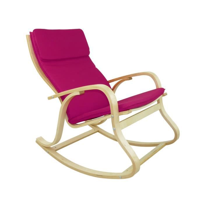rocking chair chaise bascule benny coloris r achat vente fauteuil rose cdiscount. Black Bedroom Furniture Sets. Home Design Ideas