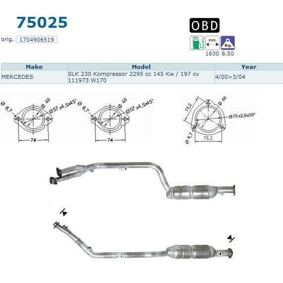 pot catalytique pour mercedes slk 230 kompressor 2